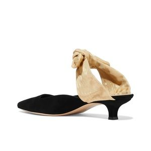 The Row Coco Suede Black & Beige Mules